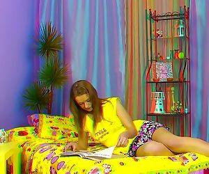 Long legged brunette giving blowjob in unique 3d porn..