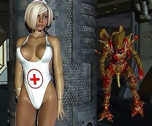 Horny blonde 3d nurse getting fucked by an alien with long..