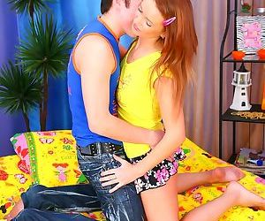 Long haired redhead gets on all fours for big cock in 3d..
