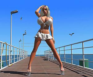 Busty 3d blonde babe shows her huge boobs under bikini..