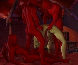 Muscle devil babe gets hard banged and takes cum on her..