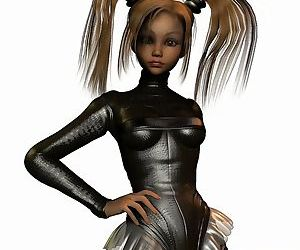 Comics Toon in black skirt and pigtails -.., 3d  toons