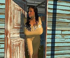 Large breasted 3d american indian hottie posing outdoors -..