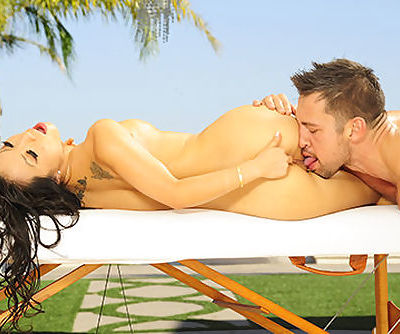Asa Akira gives a full body oil..