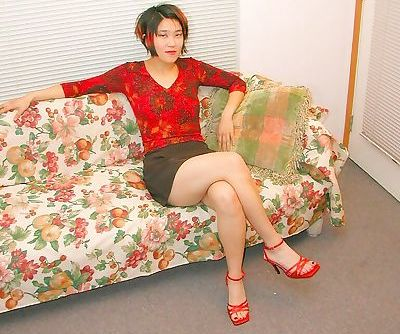Asian amateur in high heels with..