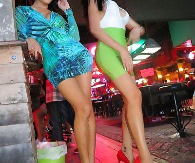 Leggy Asian ladyboys head out on..