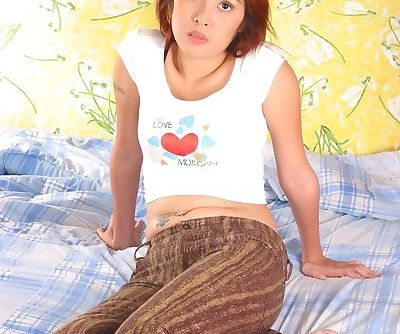 Thai redhead plays with hairy..