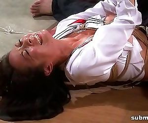 Asian slave is hogtied, electro..