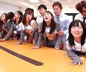 JAV huge group sex office party..