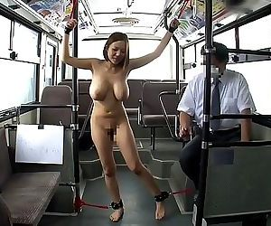 Japanese woman bound in the bus..
