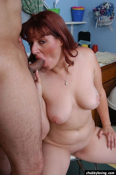 Older plumper Tru having lingerie removed before sucking off cock in kitchen