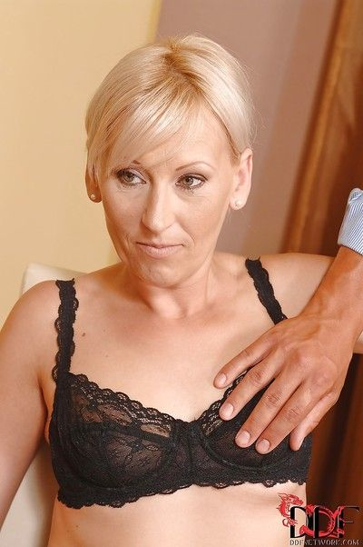 Mature Samantha White presents blowjobs for two BDSM addicted guys