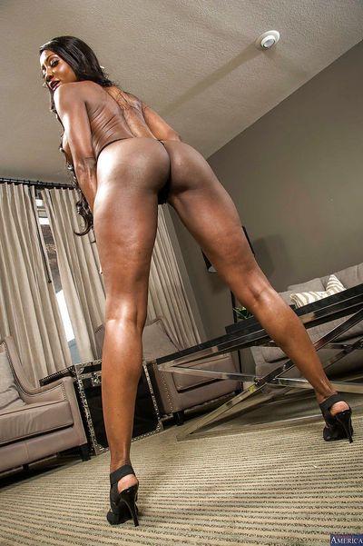 Chocolate beauty Diamond Jackson demonstrate her big boobies - part 2