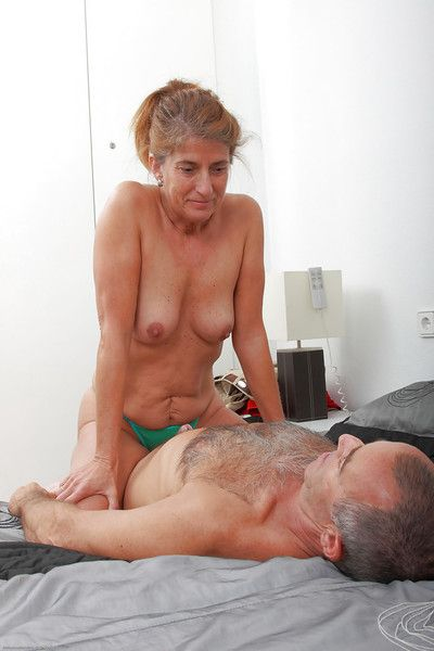 Over 60 couple Meg and hubby fucking up storm before cumshot finish