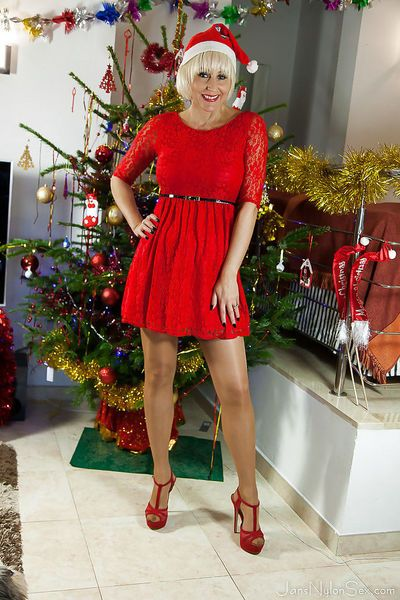 Christmas time with mature nylon model Jan Burton is full of sexy pics