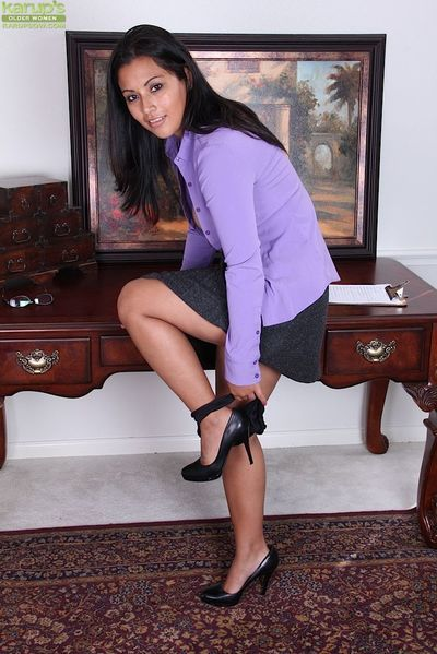 Immensely tempting latina MILF in dress clothes uncovering her goods - part 2