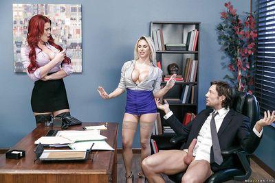Big boobed MILFs Rachel RoXXX and Skyla Novea having 3some in office