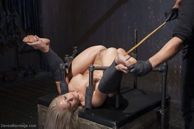 Hot blonde MILF Holly Heart taking painful electroshock on thighs and tits - part 2