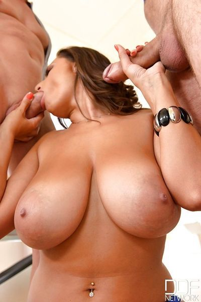 Chesty MILF Sensual Jane taking cumshot on huge boobs from two cocks - part 2
