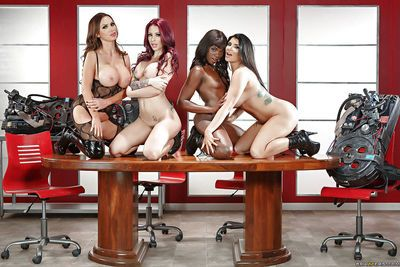 Black and white pornstars in boots model naked on desk in all girl orgy - part 2