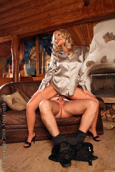 Fetish blonde MILF enjoys passionate partly clothed sex with a hung lad - part 2