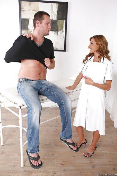 Big tits and nurse uniform make milf Alice Romain get hardcore cumshot