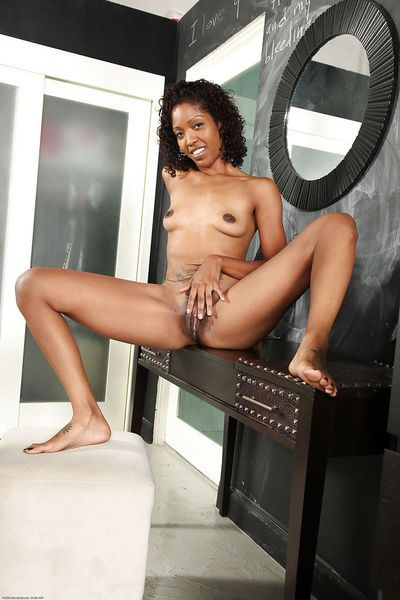 Ebony cougar with small boobs shows her drenched pussy and pats clit - part 2