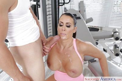 Coigar MILF Reagan Foxx amazing blowjob and sex at the gym - part 2
