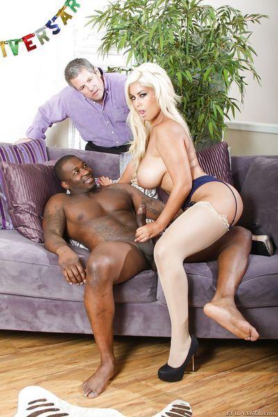 Blonde bombshell Bridgette B doing a black bull in front of cuckold