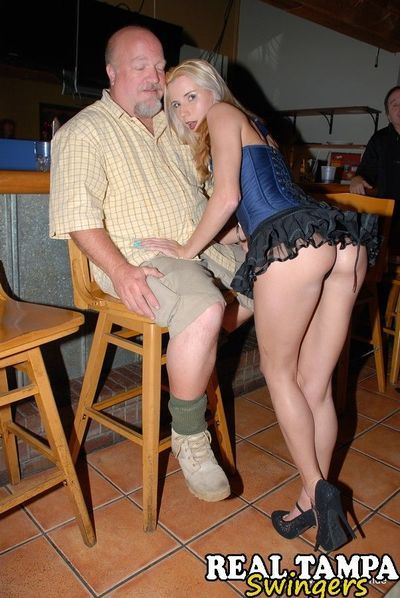Mature lady Tracy Lick introduces her swinging friends at a party