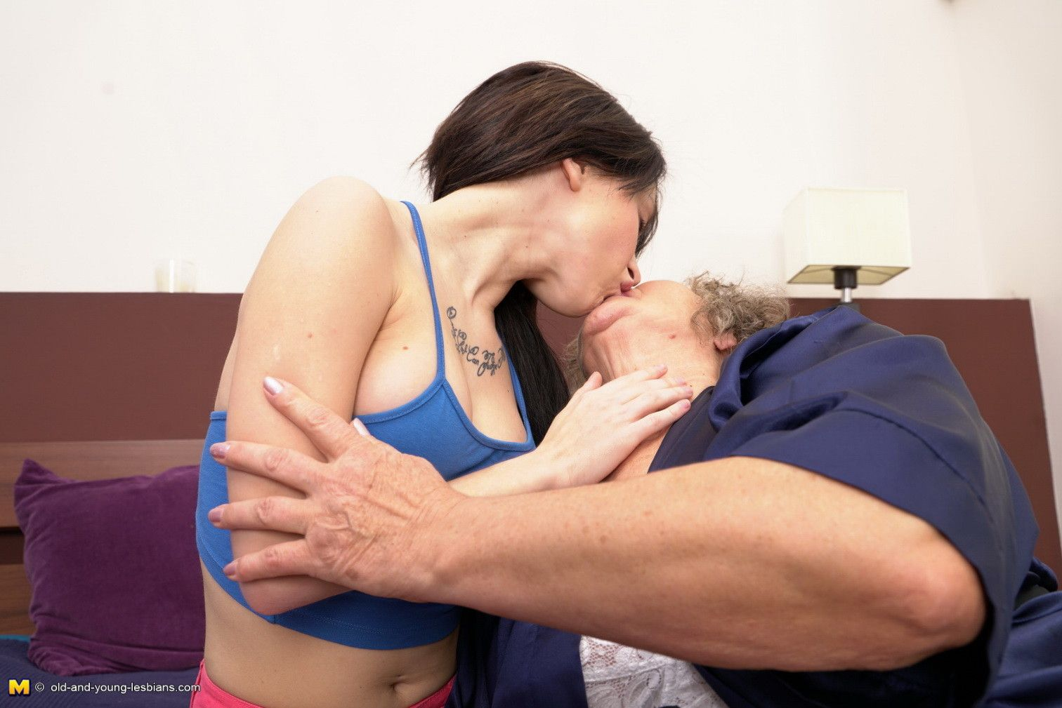 Horny old and young lesbian couple playing together
