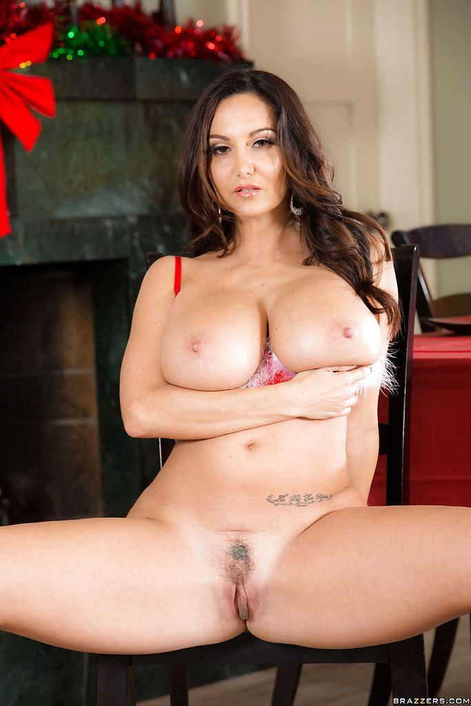 Chesty brunette MILF Ava Addams exposing her massive juggs at Christmas - part 2