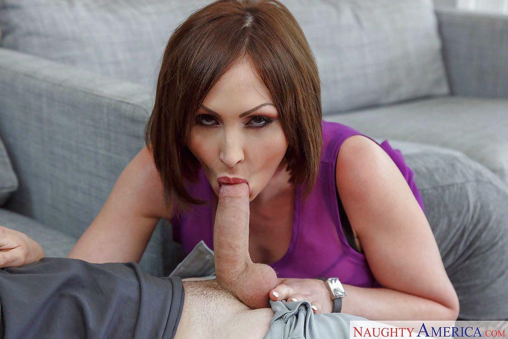 Busty cougar Yasmin Scott sucking off large cock before eating jism