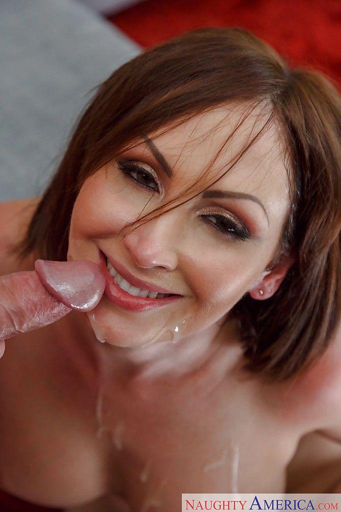 Busty cougar Yasmin Scott sucking off large cock before eating jism - part 2