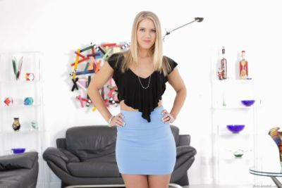 Pretty blonde female Candice Dare serves up her juicy ass to a big dick