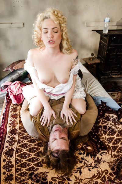 Blonde pornstar Dahlia Sky getting bum banged in vintage clothing