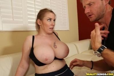 Busty MILF fucks hardcore and exposes her melons for a cumshot