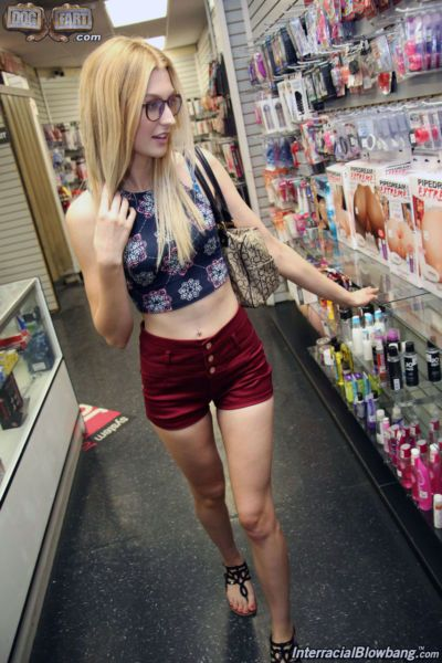 Nerdy blonde Alexa Grace gets a triple skull fucking by BBC at the sex store