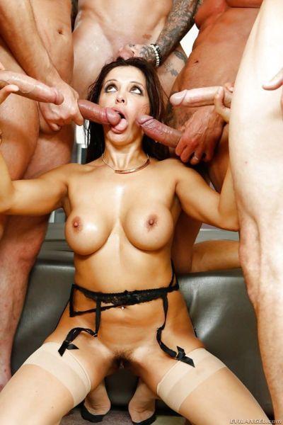 Latina pornstar Francesca Le gangbanged and facialized by big cocks