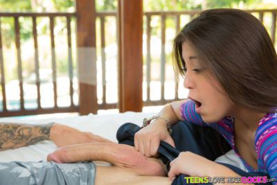 Shameless teen Natalie Monroe tries her new role in blowjob gonzo flick