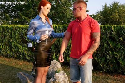 Flaming redhead rich chick lifts her skirt for a CFNM fuck from the gardener