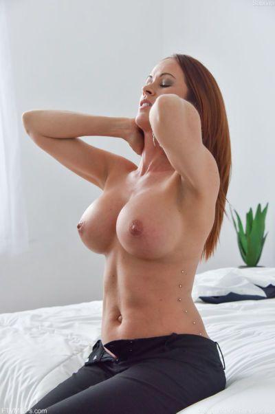 Big boobed MILF masturbates while riding her man