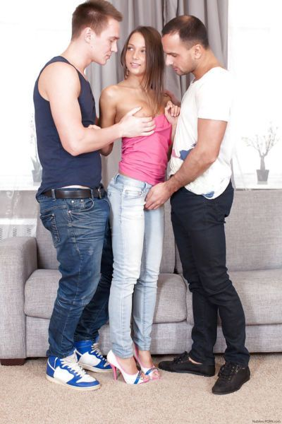 European teen Foxy Di gets spit roasted and cum blasted by two guys