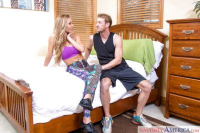 Busty blond coed Nicole Aniston riding cock for cumshot on boobs