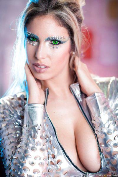 Busty blonde model Eva Parcker posing solo in funky cosplay uniform