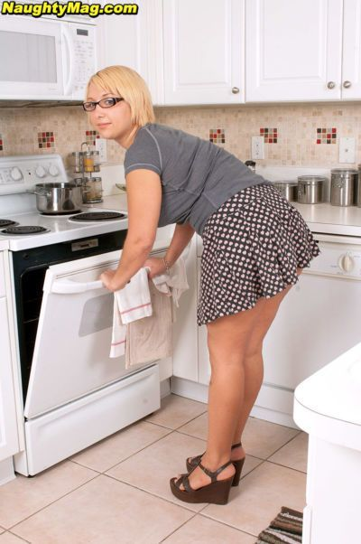 Fatty mature Jordan Jaimes flashing panty upskirt & baring big tits in kitchen