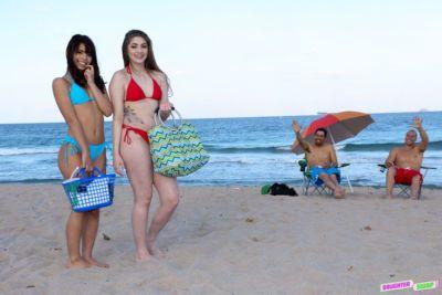 Latina teens Gina Valentina and Kobi Brian bang each others dads