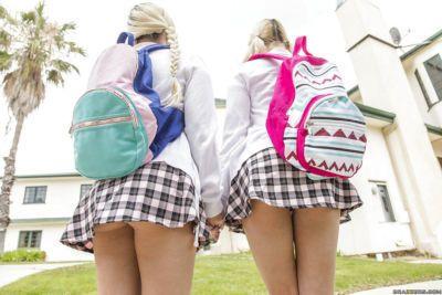 Teen schoolgirls Alex Little and Marsha May suck off a huge dick