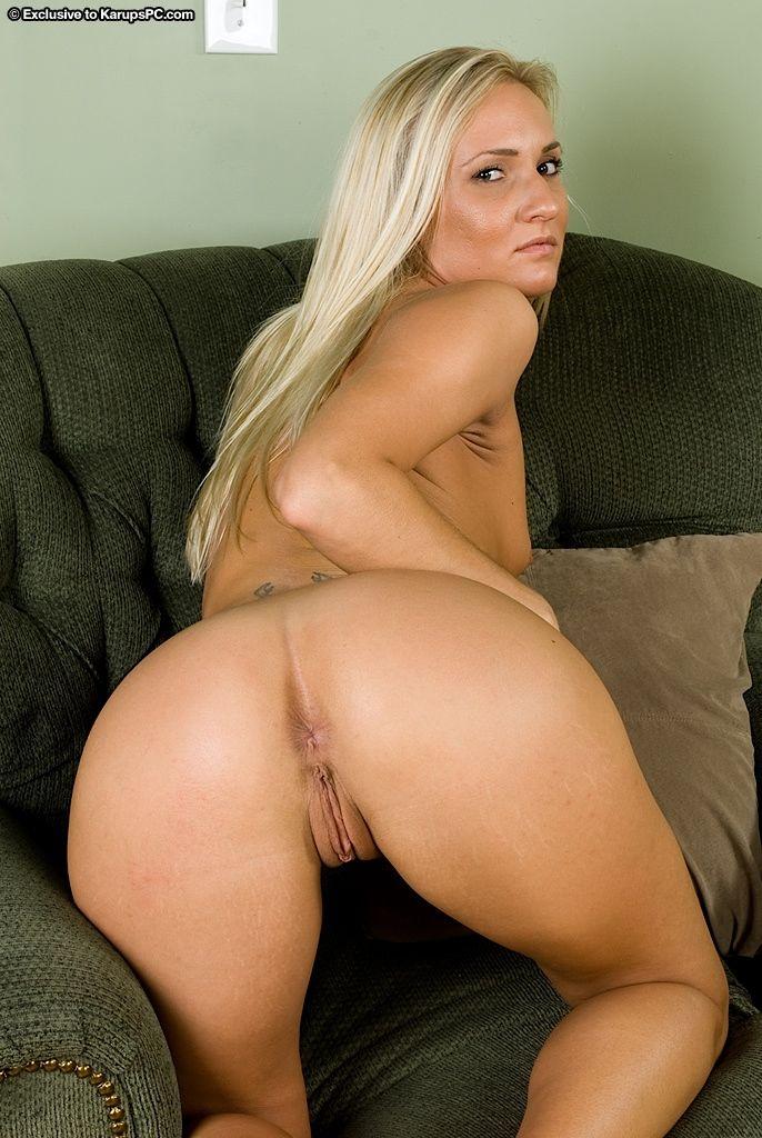 Blonde first timer Addison Cain parting shaved vagina for masturbation