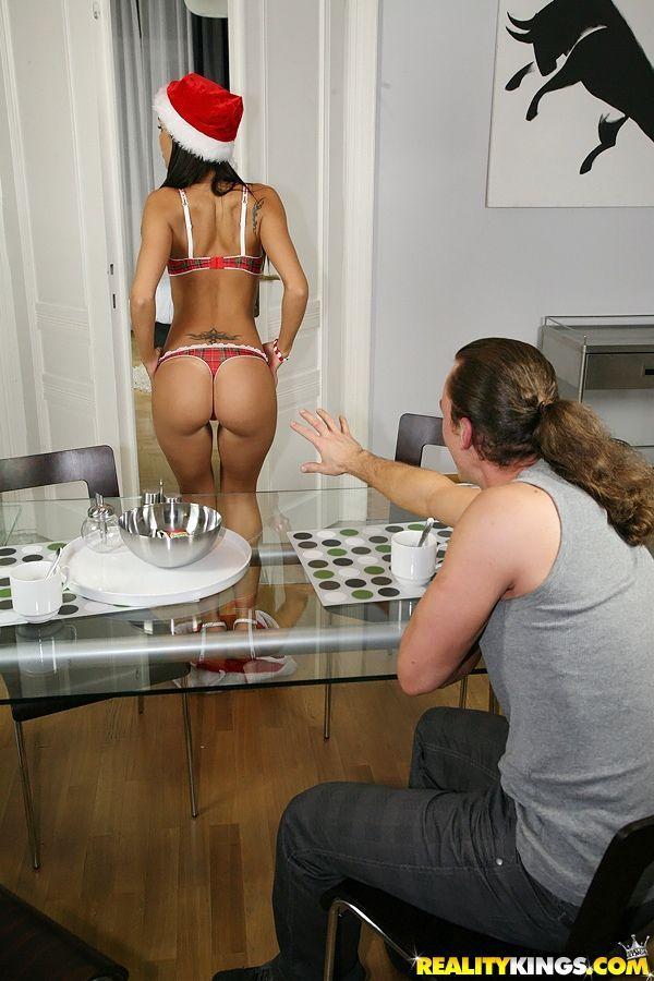 Bare legged blowjob queen Satin gets hot ass fucked & sucks for facial cumshot